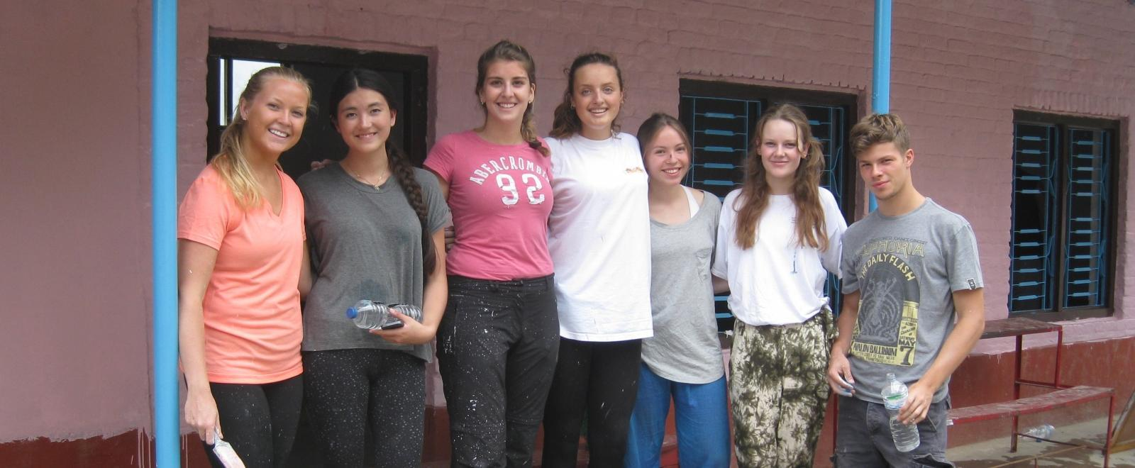 Projects Abroad Childcare HIV/Aids volunteers in Nepal take a break at their care placement.